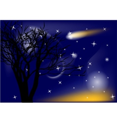 comet and tree vector image