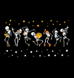 dancing and musical skeletons haloween set vector image