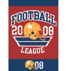 Distressed football league poster with helmet vector