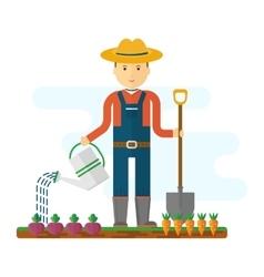 Farmer with shovel in garden vector