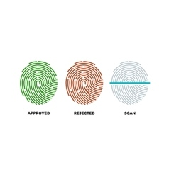 Fingerprint thumbprint icons set approved vector