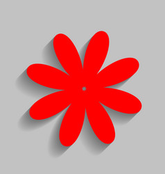 Flower sign red icon with vector