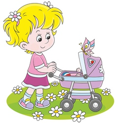 Girl with a toy baby buggy vector