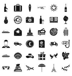 Honeymoon icons set simple style vector
