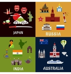Japan russia india and australia travel icons vector