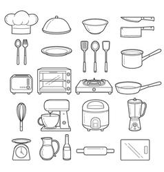 Kitchen equipment outline icons set vector