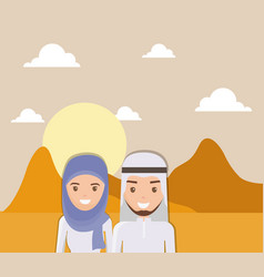 Landscape of dry desert with arabic couple design vector