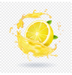 Lemon fruit juice splash realistic vector