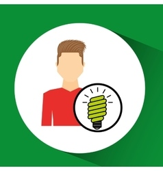 Man symbol environment eco bulb icon design vector