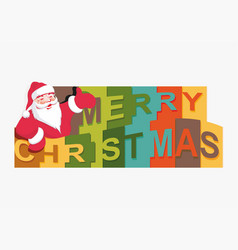 merry christmas text with a silhouette of santa vector image vector image