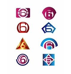 Number 6 logo icon design template elements vector image vector image