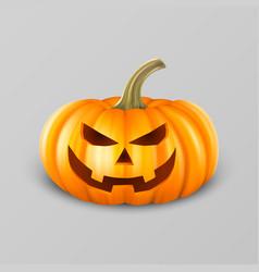 realistic pumpkin head jack lantern icon closeup vector image