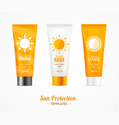 sun protection cosmetic cream template set vector image