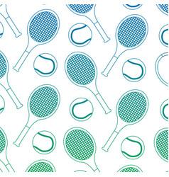 tennis ball racket sport seamless pattern vector image