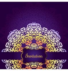 Wedding invitation delicate swirl mandala pattern vector image