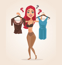 woman character chooses what wear vector image vector image