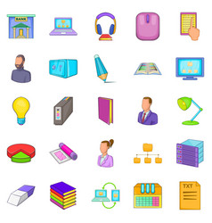 Work space icons set cartoon style vector
