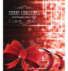 Christmas background with red bow vector
