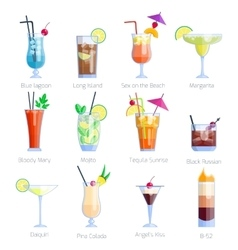 Set of alcoholic cocktails isolated on white vector