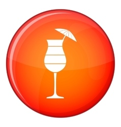 Layered cocktail with umbrella icon flat style vector