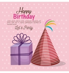 Happy birthday party invitation with gift vector