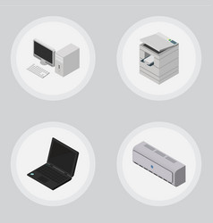Isometric office set of wall cooler computer vector