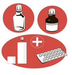 Medical set medical objects vector