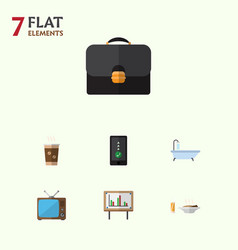 Flat icon oneday set of briefcase cappuccino vector