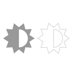 Brightness and contrast setting grey set icon vector