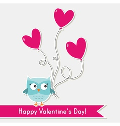 Valentine card with cute owl vector image