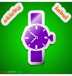 Wrist watch icon sign symbol chic colored sticky vector