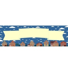 Above the houses develops banner for your text vector