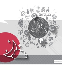 Hand drawn night icons with icons background vector image