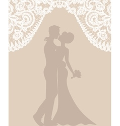 Groom and bride on beige background vector