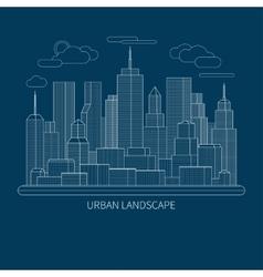 Thin line city landscape concept vector