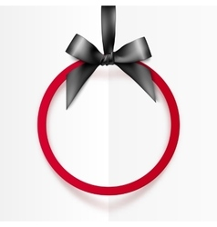 Red holiday round frame with black bow and silky vector image