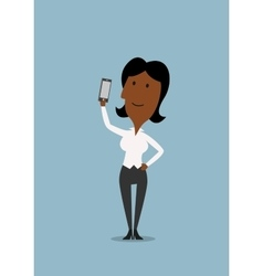 Businesswoman taking selfie with smartphone vector