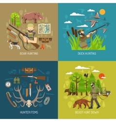 Hunting 2x2 design concept set vector