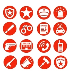 Police icons set red buttons vector