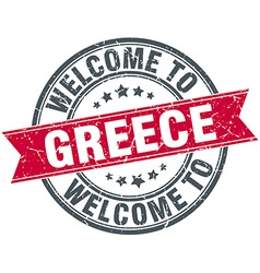 Welcome to greece red round vintage stamp vector