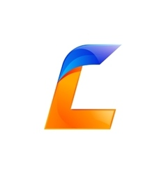 L letter blue and orange logo design fast speed vector