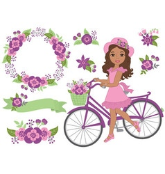 African american girl with bicycle vector