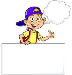 Boy with speech bubble vector