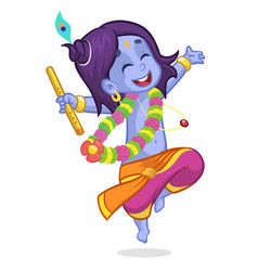 Cartoon krishna dance vector
