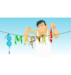 cartoon man hangs lingerie March 8 vector image vector image