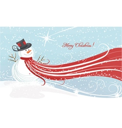 Christmas background with snowman vector