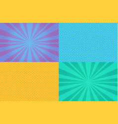 collection of colored pop art retro backgrounds vector image vector image