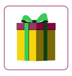 Colorful wrapped gift box icon yellow vector image vector image