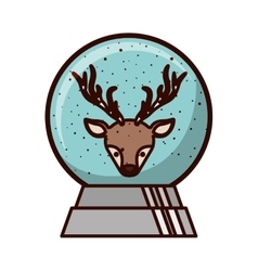 Crystal ball with face of reindeer inside vector