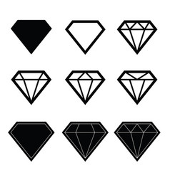Diamond set in black color vector